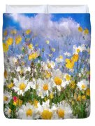 Daisies On A Hill - Impressionism Duvet Cover