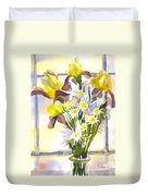 Daisies With Yellow Irises Duvet Cover