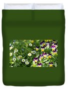 Daisy And Pansy Mix Duvet Cover