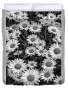 Daisy Cluster Vermont Flowers In Black And White Duvet Cover