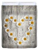 Daisy Heart On Old Wood Duvet Cover