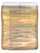 Dalai Lama A To Zen Of Life Typography On Watercolor Ocean Sunset Duvet Cover