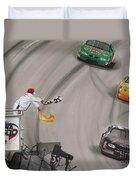 Dale Earnhardt Wins Daytona 500-checkered Flag Duvet Cover