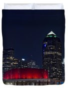 Dallas Skyline Arts District At Night Duvet Cover