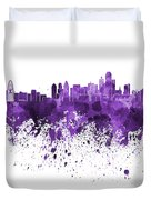 Dallas Skyline In Purple Watercolor On White Background Duvet Cover