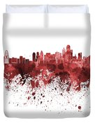 Dallas Skyline In Red Watercolor On White Background Duvet Cover
