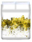 Dallas Skyline In Yellow Watercolor On White Background Duvet Cover