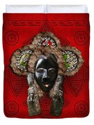 Dan Dean-gle Mask Of The Ivory Coast And Liberia On Red Leather Duvet Cover