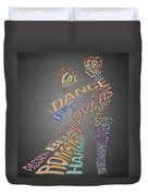 Dance Lovers Silhouettes Typography Duvet Cover