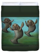 Dance Of The Manatees Duvet Cover