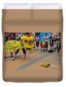 Dance Troupe Performs Chinese Lion Dance Singapore Duvet Cover