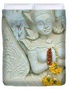 Dancing Aspara At Temple Of The Dawn/wat Arun In Bangkok-thailan Duvet Cover