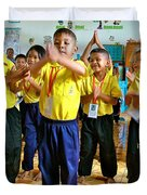 Dancing Kindergarten Students At Baan Konn Soong School In Sukhothai-thailand Duvet Cover