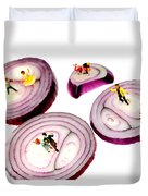 Dancing On Onoin Slices Little People On Food Duvet Cover