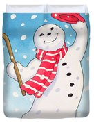 Dancing Snowman Duvet Cover
