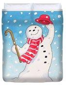 Dancing Snowman Duvet Cover by Lavinia Hamer