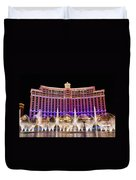 Dancing Waters - Bellagio Hotel And Casino At Night Duvet Cover