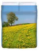 Dandelion Meadow And Alone Tree  Duvet Cover