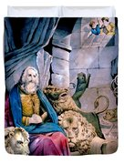 Daniel In The Lions Den Duvet Cover by Currier and Ives