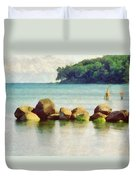 Danish Coast On The Rocks Duvet Cover