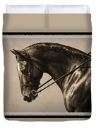 Dark Dressage Horse Old Photo Fx Duvet Cover by Crista Forest