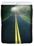 Dark Foggy Country Road Duvet Cover by Edward Fielding