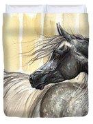 Dark Grey Arabian Horse 2014 02 17 Duvet Cover