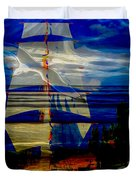 Dark Moonlight With Sails And Seagull Duvet Cover