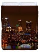 Dark Pittsburgh Skyline Duvet Cover