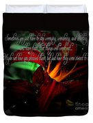 Dark Red Day Lily And Quote Duvet Cover