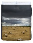 Dark Storm Clouds Over A Field With Hay Duvet Cover