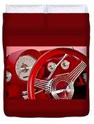 Dashboard Red Classic Car Duvet Cover