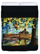 Date On The Bench Duvet Cover