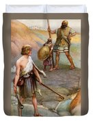 David And Goliath Duvet Cover by Arthur A Dixon
