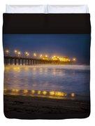 Dawn At Huntington Beach Pier By Denise Dube Duvet Cover
