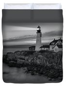 Dawn At Portland Head Light Bw Duvet Cover by Susan Candelario