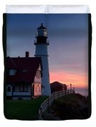 Dawn At Portland Lighthouse Duvet Cover