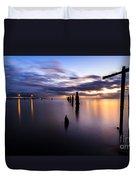 Dawn Breaks Over The Pier Duvet Cover