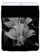 Day Lilies In Black And White Duvet Cover