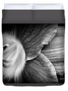 Day Lily Detail - Black And White Duvet Cover