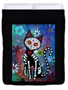 Day Of The Dead Cat Duvet Cover