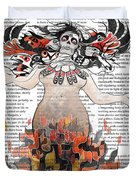 Day Of The Dead Gaia In Flames With Text Illustration Print Duvet Cover
