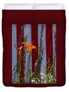 Daylily And Old Glory Duvet Cover