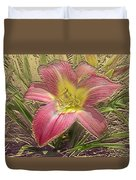 Daylily In Gold Leaf Duvet Cover