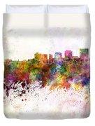 Dayton Skyline In Watercolor Background Duvet Cover