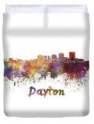 Dayton Skyline In Watercolor Duvet Cover