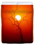Dead Tree Silhouette And Glowing Sun Duvet Cover