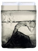 Death With Two Children Carried On His Scythe Duvet Cover by Michel Fingesten