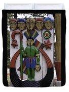 Decoration On Wooden Door In Lansdowne Duvet Cover