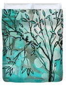 Decorative Abstract Floral Birds Landscape Painting Bird Haven I By Megan Duncanson Duvet Cover